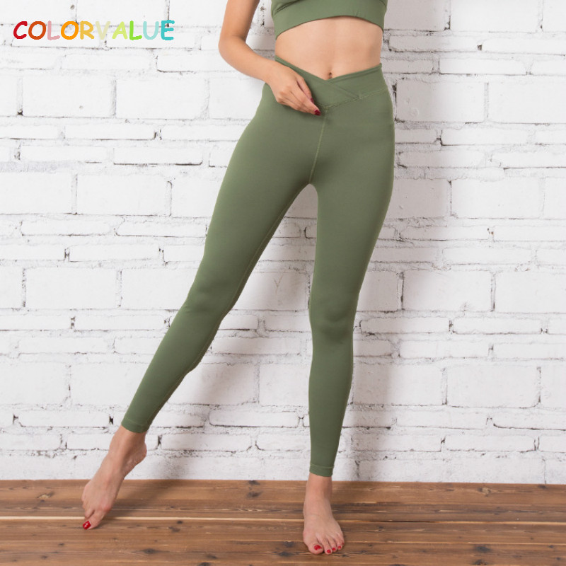 Colorvalue Front V-Type Waistband Jogger Fitness Tights Women Solid High Waist Sport Athletic Leggings Anti-sweat Yoga Gym Pants colourvalue anti sweat peacock printed yoga pants women stretchy fitness foot tights elastic high waist workout sport leggings