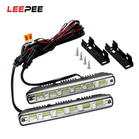 Headlights Fog Lamps 2Pcs Head Lamp Car Styling DC 12V DRL 6leds White LED COB Car
