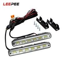 Headlights Fog Lamps 2Pcs Head Lamp Car Styling DC 12V DRL 6leds White LED COB Car