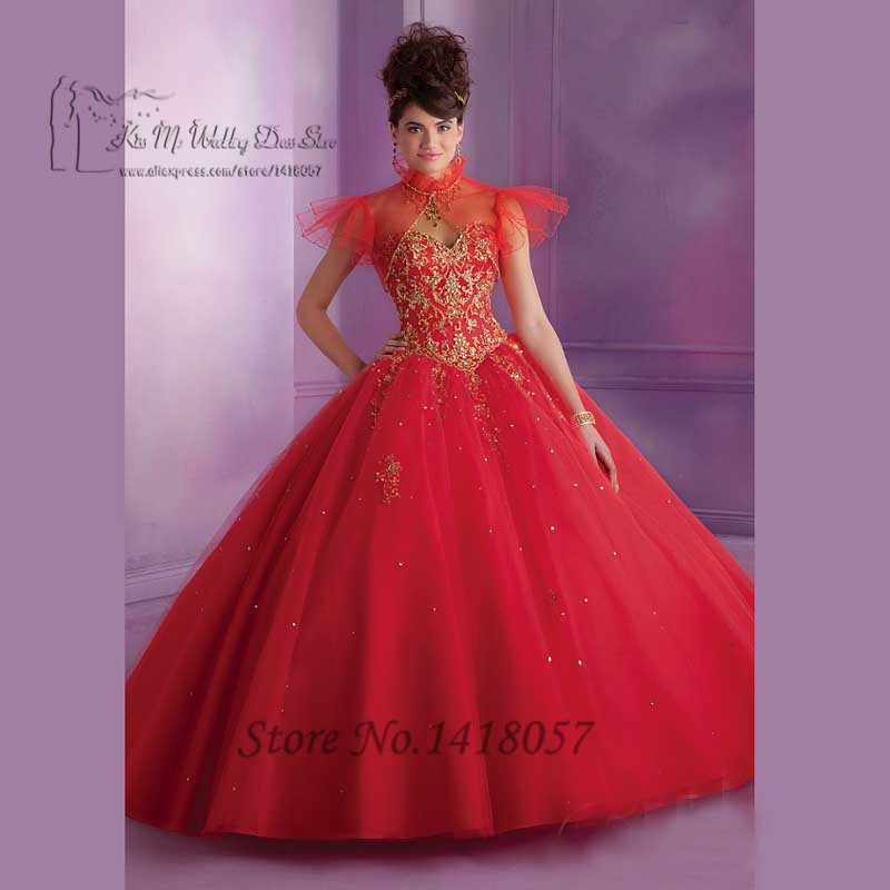 Princess Purple Red Gold Cheap Quinceanera Gowns Dress for ...