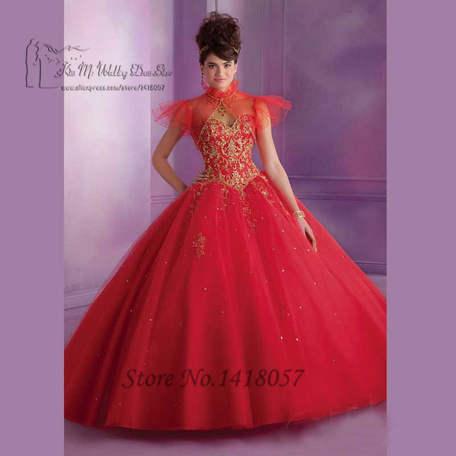 Princess Purple Red Gold Cheap Quinceanera Gowns Dress for 15 Years Vestidos de Quinceaneras Debutante 2016 Lace Prom Dresses