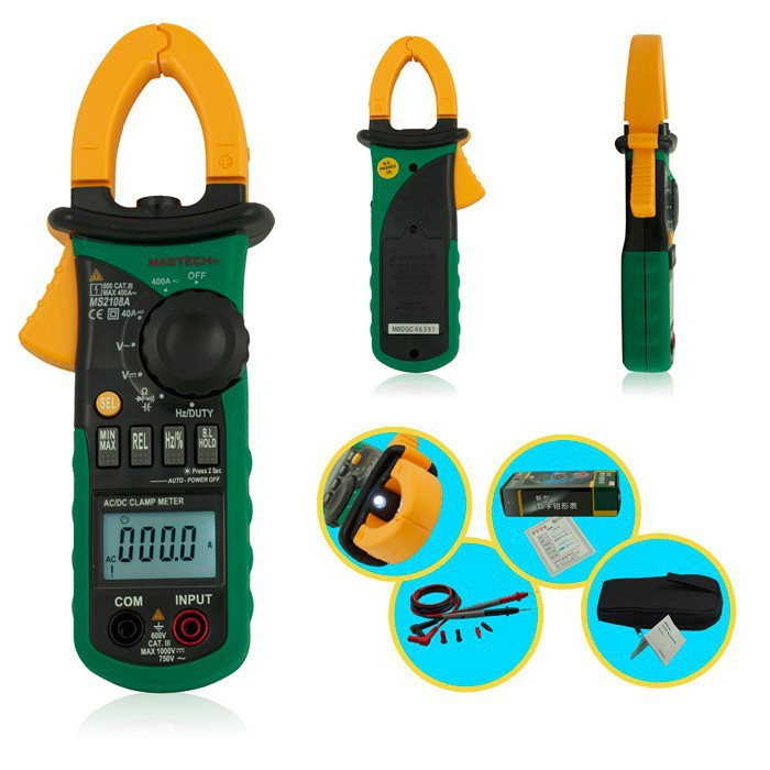 Mastech MS2108A Auto Range DC AC Current Digital Clamp Meter Multimeter Voltage Frequency Meter Tester Backlight digital clamp meter mastech ms2108a auto range multimeter ac 400a current voltage frequency clamp multimeter tester backlight