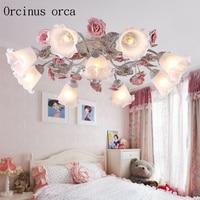 Korean garden LED ceiling lamp rose lamp garden lamp wrought iron lantern living room bedroom lamp Postage free