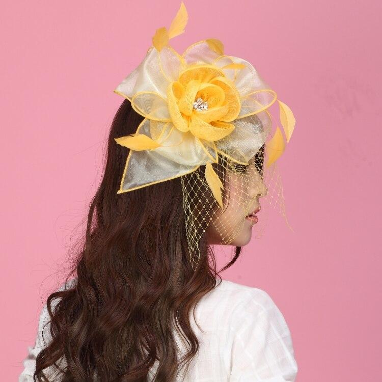 Livraison Gratuite Femmes Fascinateur Chapeaux Jaune Organza Fleur Plume Cheveux  Accessoire De Mariage Cheveux Accessoires Coiffure dans Cheveux Accessoires