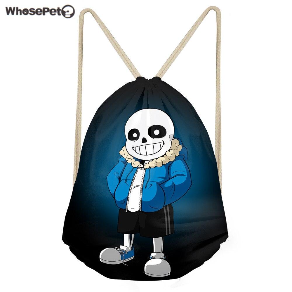 WhosePet Drawstring Backpack Undertale Kindergarten Boys School Bag Cartoon Storage Package Bags Casual Beach Rucksack Daypack