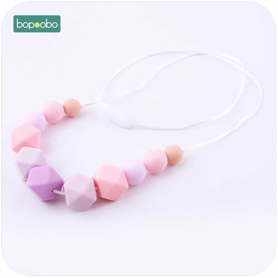 Bopoobo Baby Cute Colorful Nursing Necklace Chewable Beads Baby Shower Gift Food Grade Silicone Teether Breastfeeding Jewellery