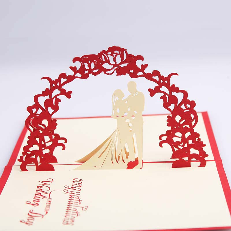 3D Pop Up Wedding Silhouette Greeting Card Paper Carving Romantic ...