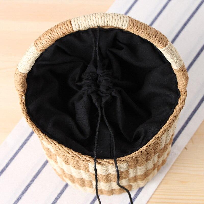 Paglia Borsa A Black Mano Colore Carta Beach Holiday Fazzoletto Nuova brown Cilindro Borse Tessuto Quadrato Di Corda Secchiello 5YRxwtanqf