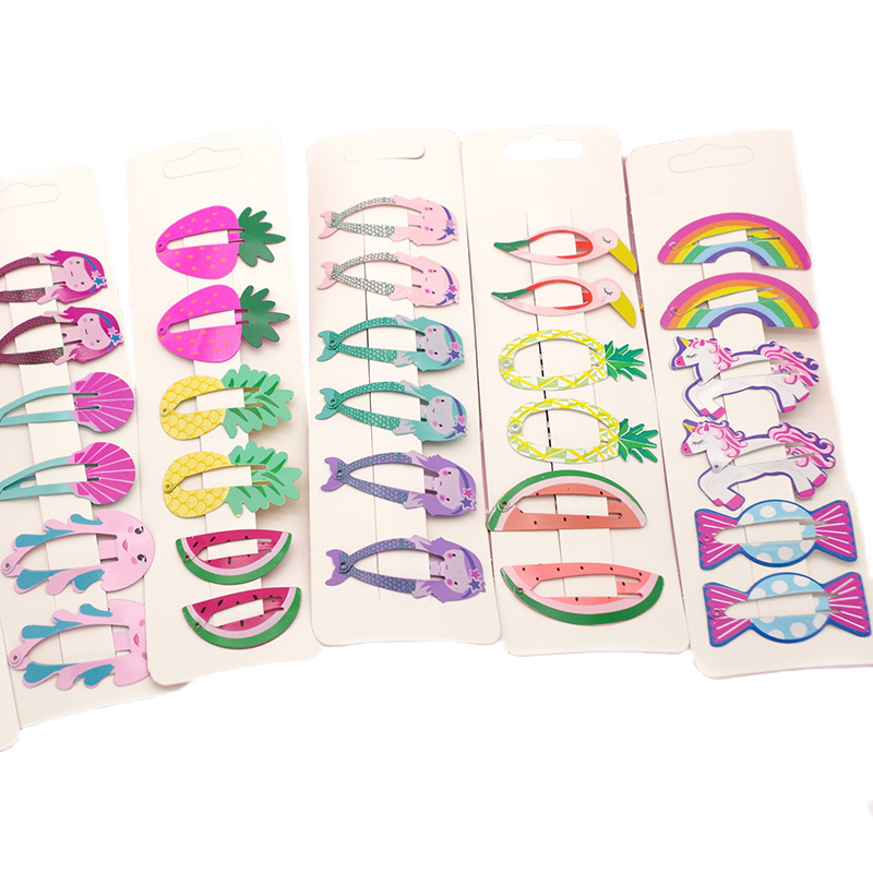 6pcs/set New Kids Hair Accessories Fruit Pineapple Hairpins Children Paint Bb Clip Girls Cute Cartoon Mermaid Rainbow Hair Clips