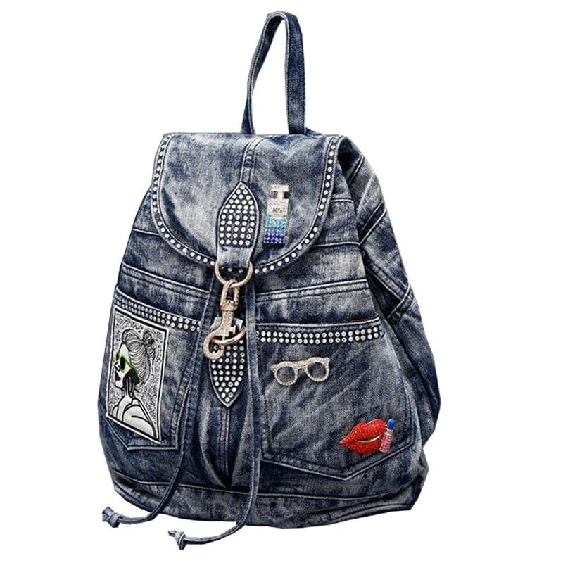 Hot Sale Mochila Feminina Women's Backpack Denim Backpack Teenage Girls Vintage Travel Bag Shoulder Bags Mochila Rucksack
