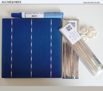 ALLMEJORES 36pcs 6x6 Polycrystalline solar cell 4.1W/pcs A Grade for DIY 150W solar panel charger + Enough Tabbing wire+Flux pen