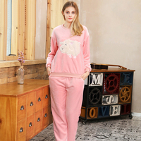 SpaRogerss Winter Women Pajamas 2017 Brand Pajamas Lady Long Sleeve Coral Flannel Pajama Pants Set Warm