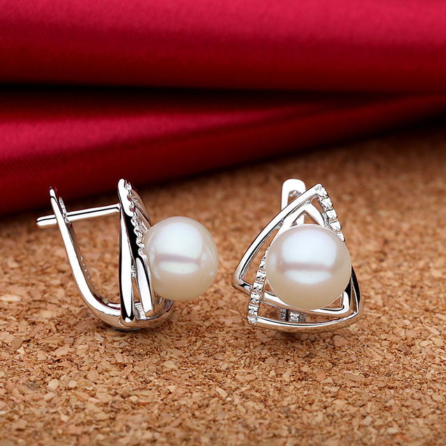 Natural Freshwater Pearls 925 Sterling Silver Earrings