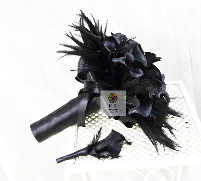 1Pc Handmade Wedding Bridal Bouquet And 1Pc Groom Boutonniere Flower Set Black Artificial PU Calla Lily