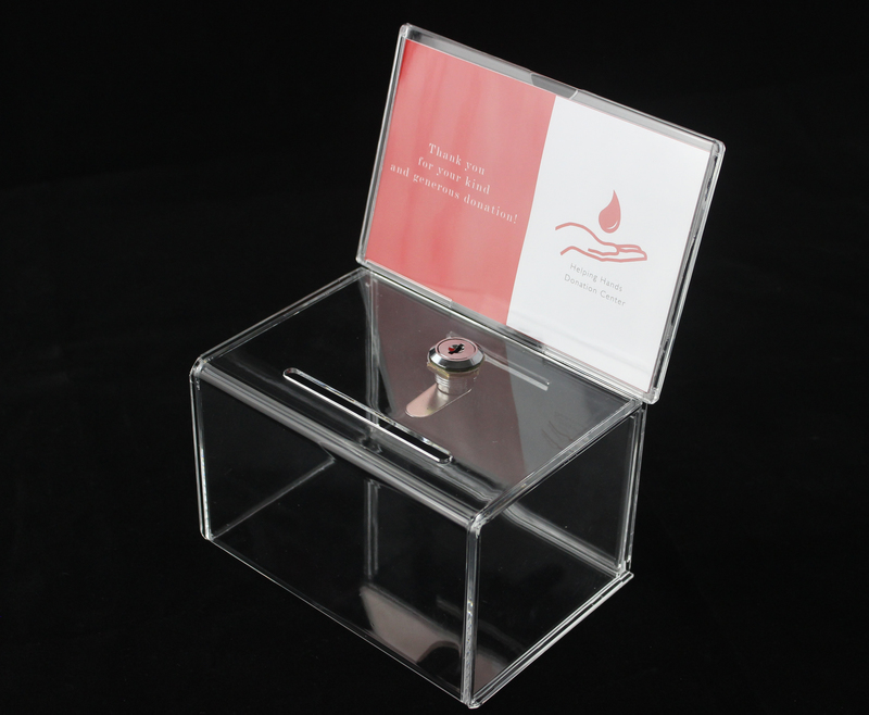 Counter Acrylic Donation Collection Box Perspex Fundraising Charity Box With Keylock For Church Non-profitable Group Charity