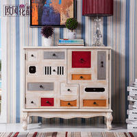 Huadu Art Three Bucket Cabinet American Country Do Old Solid Wood Lockers Retro Drawer Cabinets