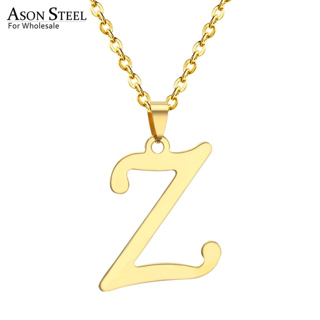 US $15 0   ASONSTEEL 5 Pcs/Lot Charm Z Letter Design Initial Necklace Women  Men Jewelry Gold Stainless Steel Alphabet Letter Jewelry-in Pendant