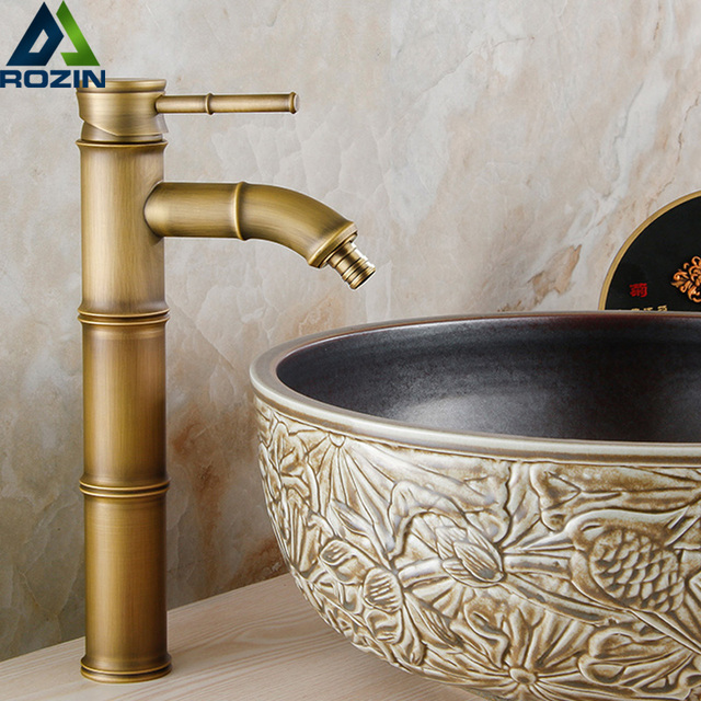 European Bathroom Sink Basin Faucet Bamboo Style Wash Basin Vintage Mixer  Taps Antique Brass Water Tap