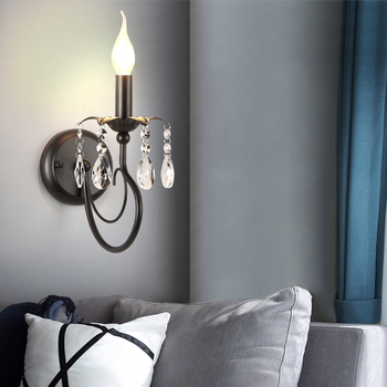 Home Decoration Crystal Wall Lamp Light Retro Led Wall Sconce Bedside Wall Fixture Bedroom Bathroom Aisle Cafe Bar Hotel Fixture