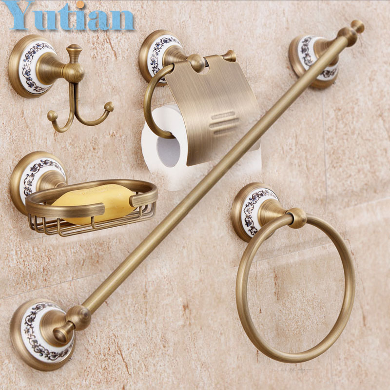 Free shipping,solid brass Bathroom Accessories Set,Robe hook,Paper Holder,Towel Bar,Soap basket,bathroom sets,YT-11500-5  free shipping solid brass bathroom accessories set robe hook paper holder towel bar bathroom sets antique brass finish yt 12200