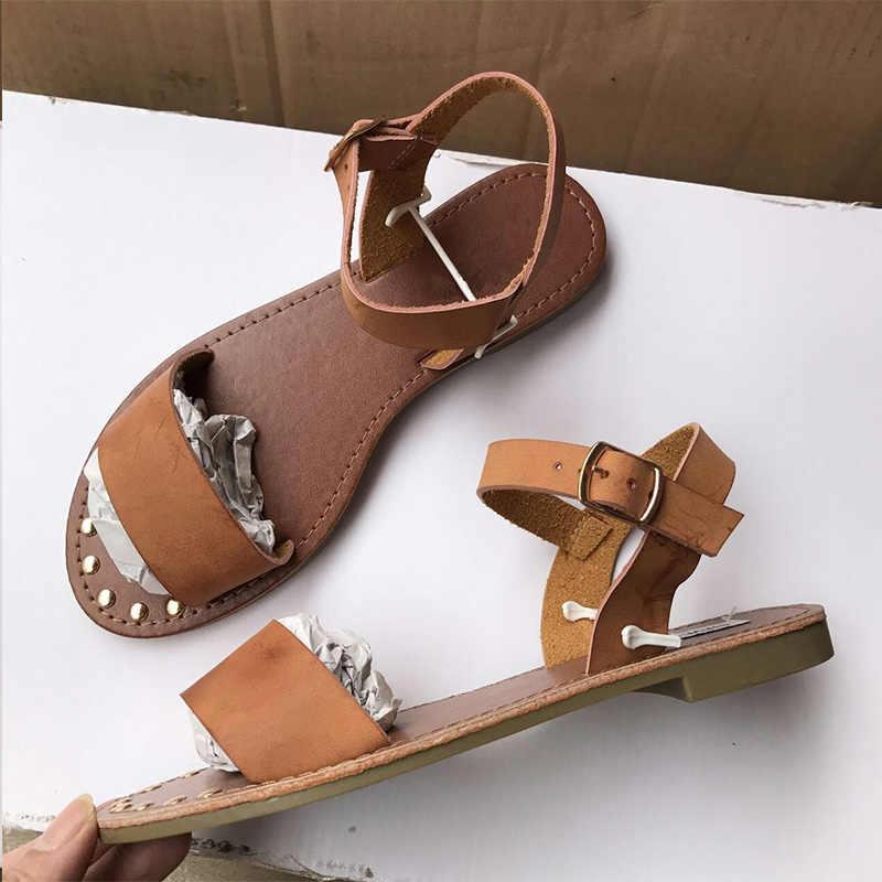 Novo verão sandálias femininas gladiador peep toe rebite sandálias casuais feminino tornozelo fivela calçados senhoras sandalias mujer 2019