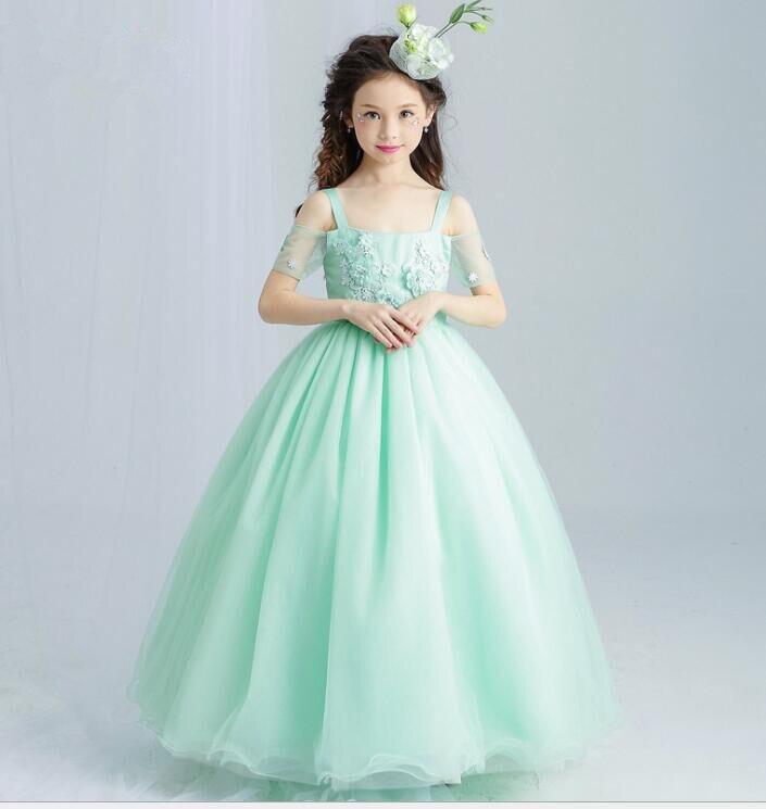 Nouveau été vert élégant Long mariage fleur filles robe enfants adolescent cheville longueur Appliques Floral fête bal Communion robes