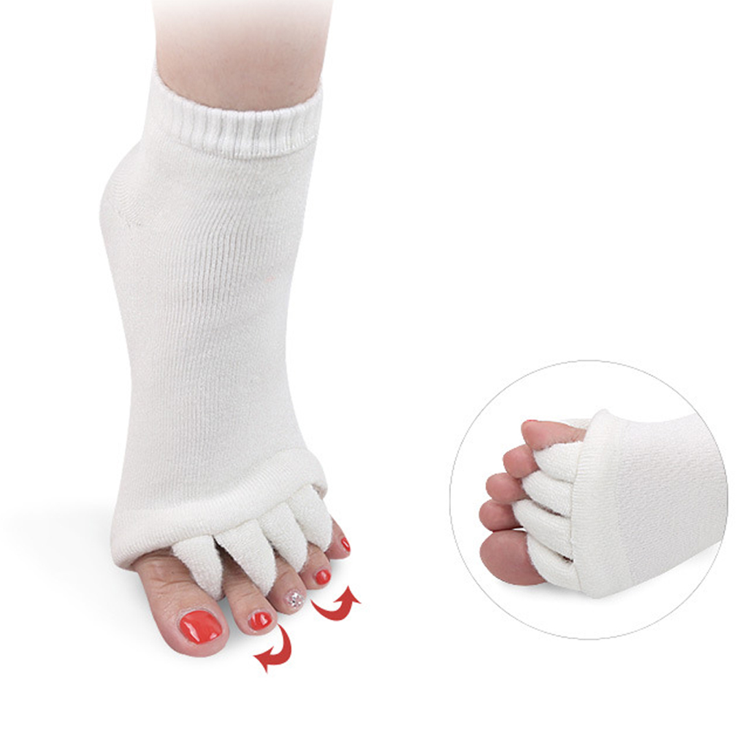 1 Pair Feet Sleeping Massager Foot Alignment Toes Socks Massage Five Fingers Separator Toe Compression Treatment Pain Relief