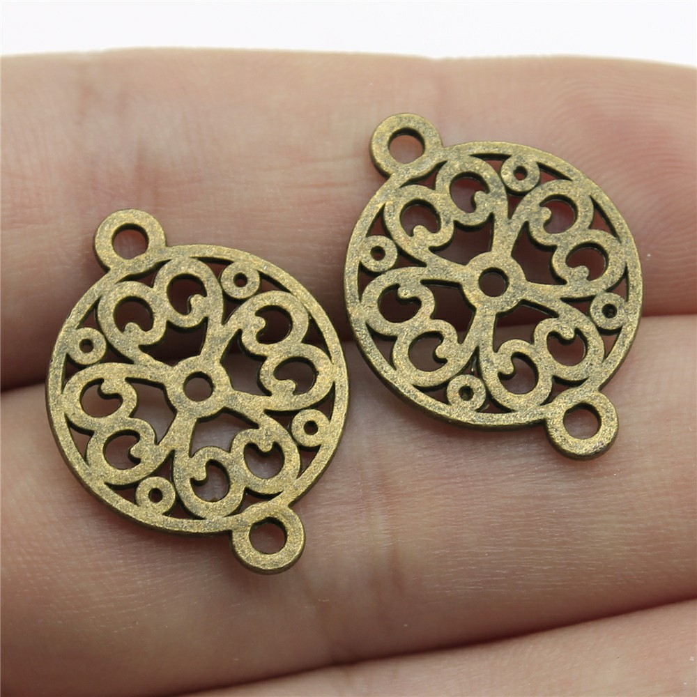 30pcs Antique Bronze Leaf Charms Pendant Lot Connector Jewelry Finding DIY