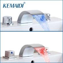 KEMAIDI смеситель для ванной 3 шт. светодиодный кран для раковины водопада Санузел кран хромированный смеситель