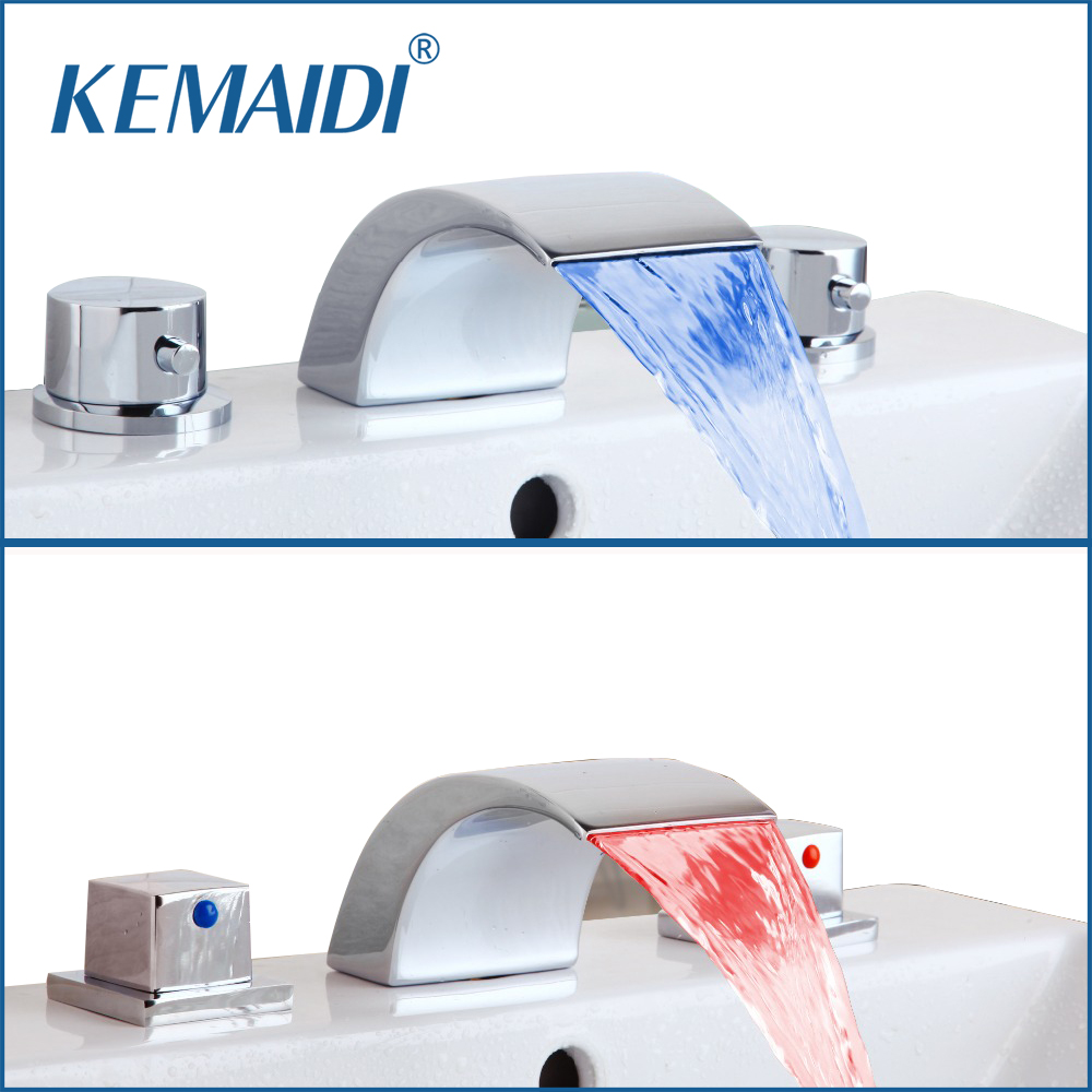 KEMAIDI  Bathtub Faucet 3 PCS Bathroom LED Basin Sink Faucet Waterfall Water Flow Lavatory Faucet Tap Chrome Finished Mixer new bathroom wash basin sink faucet waterfall flow lavatory hot cold washing tap tree629