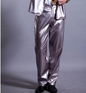 Silver Singer costumes PU faux leather pants for the mens 1 pants man stage trousers mens pants clothing Provide custom
