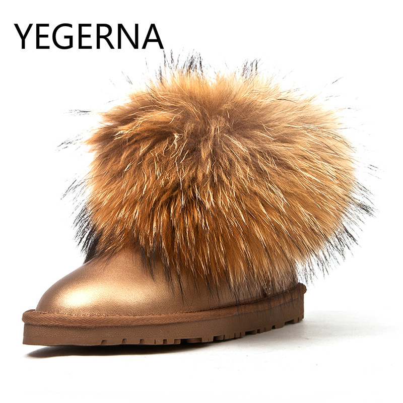 Fashion Women 100% Genuine Leather Snow Boots Natural Fox Fur Winter Boots Warm Women Boots Shoes Free Shipping