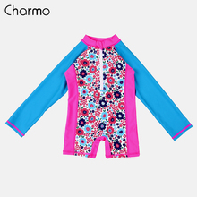 Charmo One-Piece Baby Girls Swimwear Kids Rashguard Swimsuit Child Long Sleeve Rash Guard UPF 50+ Beach Wear Children