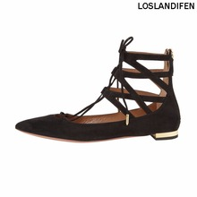 Womens Handmade Fashion Cross Lace-up Pointed Toe Ballets Flats Party Dress Shoes CKE117
