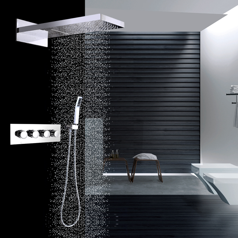HPB Rainfall Shower Faucets Wall Mounted Concealed Shower Brass Mixer Valves Thermostatic 3 Function Faucets Mixer Taps HP2211b wall mounted two handle auto thermostatic control shower mixer thermostatic faucet shower taps chrome finish