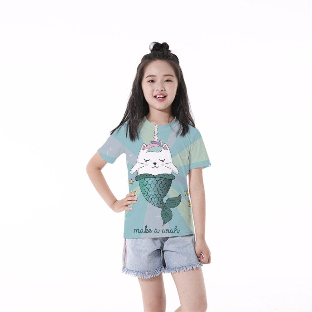 RUNNING CHICK Unicorn and Fishtail Print Children's t shirt New Short Sleeve Wholesale
