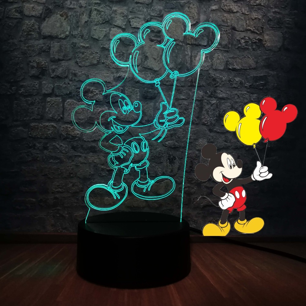 Mickey Mouse Black Head Baby Children Nursery Table Lamp Night Light Touch Lamp
