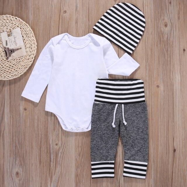 3 stks Pasgeboren Baby Baby Boy Kleding Katoen Romper Shirt Broek Hoed Pyjama Outfit Set Klassieke Streep Kleding 1