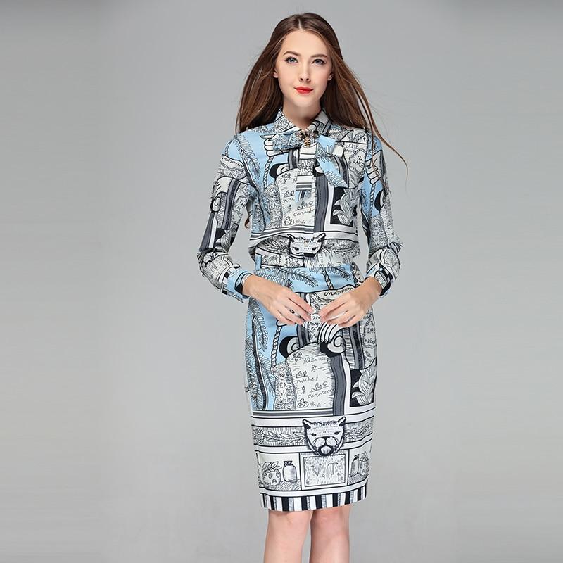 Lady Pièces Vintage Arc Longues Crayon Designer Femmes Piste Robes Office Perles Imprimer Blouses Manches Robe Travail Deux À Ensemble EBqqUSwvg