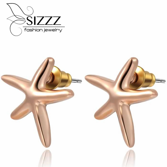 Sizzz Foreign Trade Best Ing Models Rose Gold Starfish Stud Earrings For Women