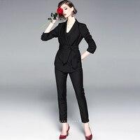 Костюмы женский комплект из двух предметов 100% пиджак из полиэстера + брюки длинные рукава пояса длиной до щиколотки карандаш брюки Новая мо