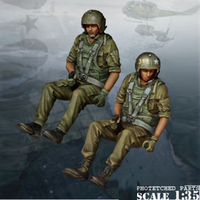 1/35 Resin soldier two men's World War II helicopter group pilot soldiers military war gk hand white model 13