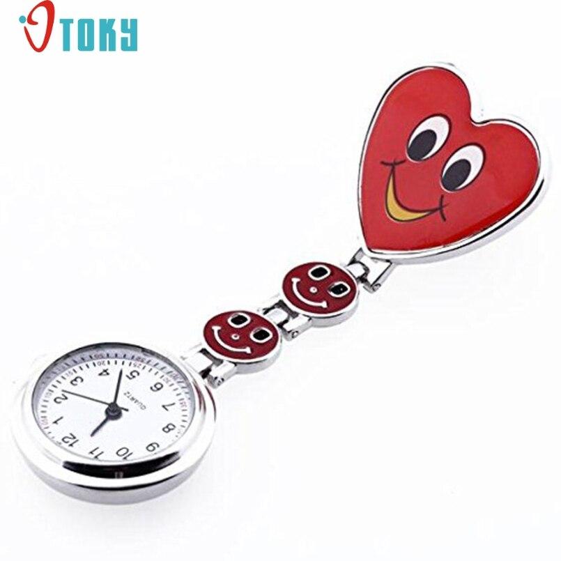 Excellent Quality OTOKY Smile Face Nurse Fob Brooch Pendant Watch Portable Pocket Watch Clip Medical Use Pocket Quartz Watch