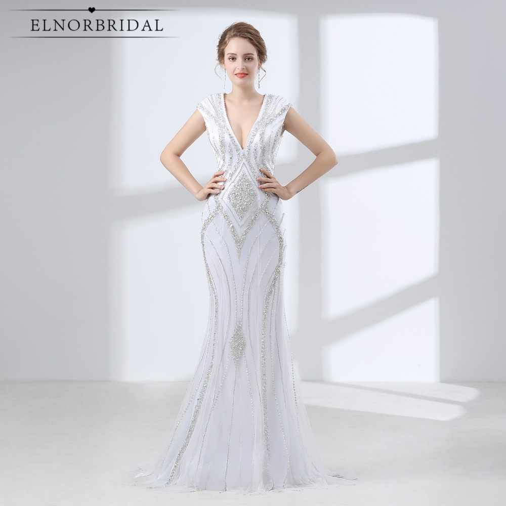 Luxury White Mermaid Prom Dresses Long 2019 Robe De Bal Beaded Crystal  Evening Gowns Open Back 6f73b970d1af