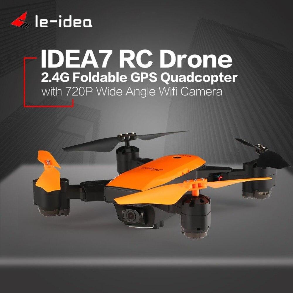 Le-idea IDEA7 2.4G RC Camera Drone Foldable Quadcopter with 720P Wide Angle Wifi GPS Altitude Hold Headless One Key Return idea7 2 4g rc drone foldable quadcopter with 720p wide angle wifi camera gps headless altitude hold one key return