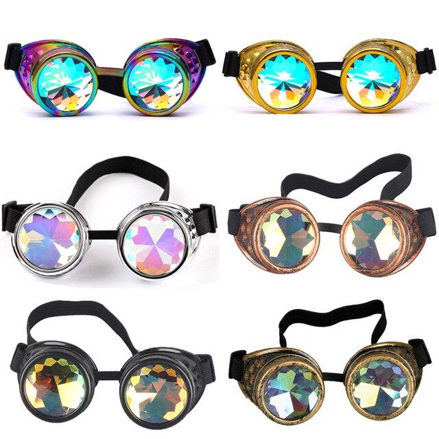1ab356ac0c Retro Round Kaleidoscope Sunglasses Men Women Designer Kaleidoscope Glasses  Cosplay Goggles For Party   Holiday DIY Decoration