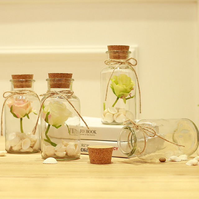 Decorative Glass Bottles With Corks Prepossessing Decorative Glass Bottles Cork Stoppers Craft Wishing Bottle Design Decoration