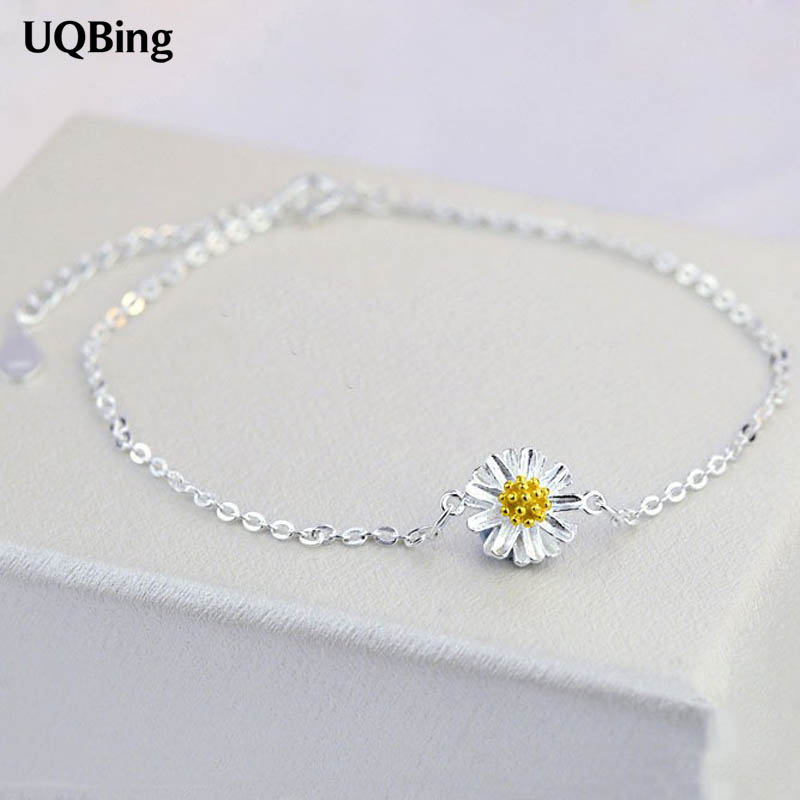 Free Shipping 925 Sterling Silver Women Anklets Jewelry Daisy Flower Anklets 925 Sterling Silver Jewelry For Gift sa silverage 925 sterling silver anklets for women sexy anklets jewelry luxury pure silver 925 jewelry accessory girl gift