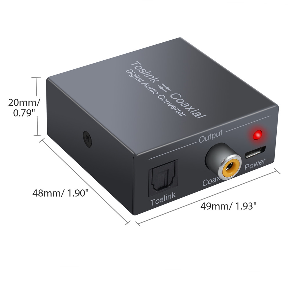 Digital Bi-derectional Optical Toslink to Coaxial Converter 2M SPDIF Cable US