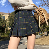 2018 American retro AA high waist thin lattice pleated skirt with safety pants prevent light